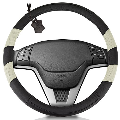 Honda Wheelskins Accord (Genuine Soft Black / Beige Leather Steering Wheel Cover: Universal 15 Inch Size, Anti-Slip, Elegant, Excellent Grip, and Easy Install Wheel Wrap by Hydro Gizmos)