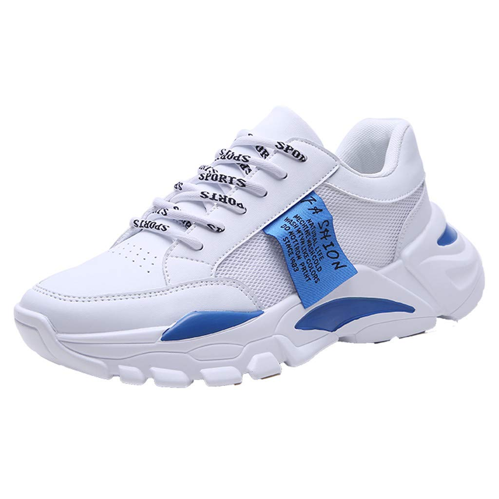 Mesh Thick Sole Running Shoes Men,Mosunx Athletic Boys Chunky Sneaker Lightweight Breathable Lace Up Gym Trail Sport Shoes (9 M US, Blue)