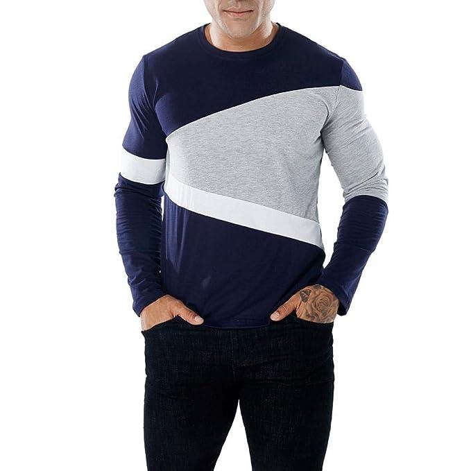 Camisetas Hombre Manga Larga Basicas, Camisetas Hombre Casual ❤️AIMEE7 Camiseta Manga Larga Cuello Redondo para Hombre: Amazon.es: Ropa y accesorios
