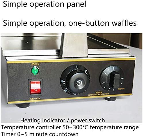 Retourner Gaufrier Belge Ronde Classique Waffle Machine 180 Degrés De Rotation, Chauffage Uniforme Double Face, Température Et Le Temps De Contrôle En Acier Inoxydable,220V