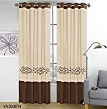 2 Pieces Curtain Set Beige Brown Gold Luxury Embroidery Panels Grommets Drapes- Yasmen (Curtain Set) For Sale