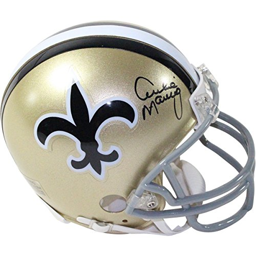 NFL New Orleans Saints Archie Manning Signed Throwback Mini Helmet by Steiner Sports