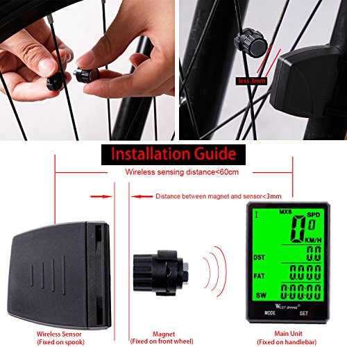 Wireless Bicycle Speedometer Waterproof Cycling Computer with LCD Green Backlight, Cycle Bike Odometer 15 Functions Speed compare record AVS SPD ODO MXS TM COLOCK etc, Bike Accessories for Riders by WESTGIRL (Image #6)