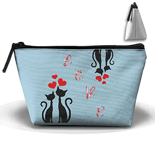 JF-X Valentine's Day Couple Cat Love Trapezoid Receive Bag Makeup Bag Home Office Travel Cases For Valentine's Day by JF-X