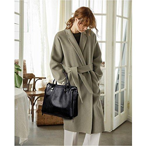 sac taille portable bandoulière à sac 32cmx11cmx26cm fashion Pu femme couleur Black fil Penao Brodé messenger unique Pure IwX40