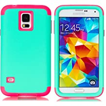 Galaxy S5 Case,LUOLNH 3-Piece High Impact Hybrid Defender Case For Samsung Galaxy S5 i9600 (not fit Galaxy S5 mini 2014)(Mint+Hot Pink )