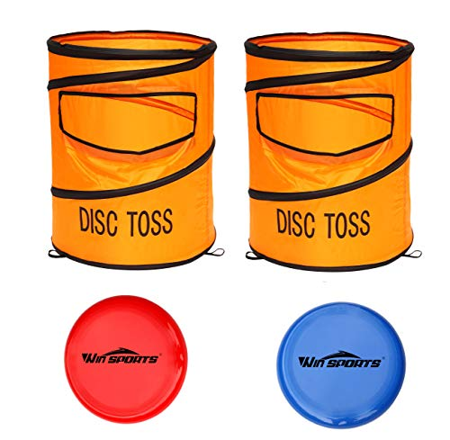 Win SPORTS Folding Disc Slam Game Set丨Flying Disc Toss Dunk Game Set丨Includes 2 Disc Targets with Bean Bag & 2 Flying Discs & Carrying Case丨Great for Backyard,BBQs,Tailgating -