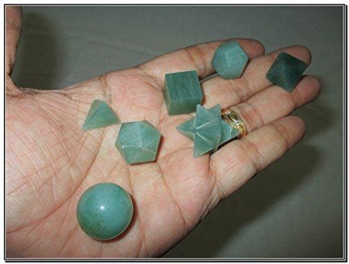 Wow A++ Green Aventurine 7 Stones Sacred Geometry Sets Gemstone Platonic Solid Top Grade Quality Merkaba Star