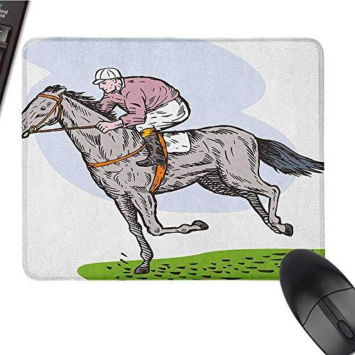 Nonslip Rubber Base Animal,Sketchy Horse Racing Theme Jockey Pony Stallion Riding on Field Retro Illustration, Multicolor Office Mouse Pad 9.8 x11.8 INCH ()