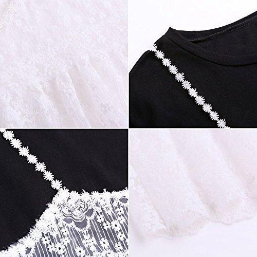 l'lingue MiGMV 2018 XL Robes Une Jeux T Blanc Longue en de Deux Shirt Noir Robe Dentelle Dames dans Jupe d't SBSYT6r