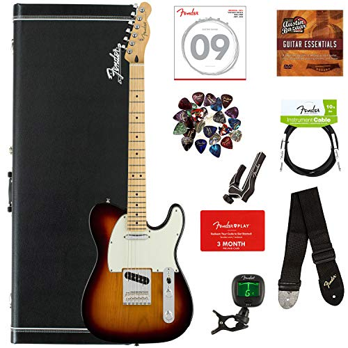 Fender Player Telecaster, Maple - 3-Color Sunburst Bundle with Hard Case, Cable, Tuner, Strap, Strings, Picks, Capo, Fender Play Online Lessons, and Austin Bazaar Instructional DVD