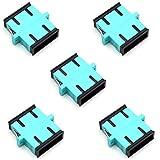 TEZONG SC/SC Multimode OM3 10GB Fiber Optic Cable Adapter,SC Female UPC Duplex Coupler Optic Extender Aqua 5 Pack