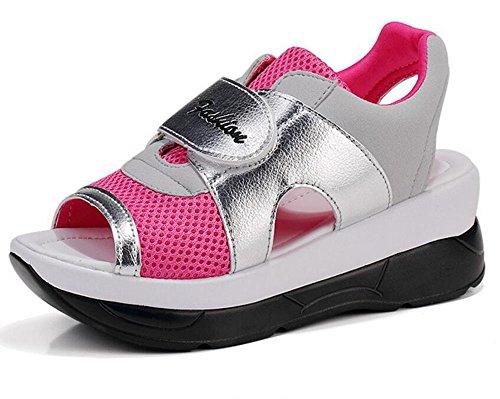 陪審敗北英語の授業があります(ホーマイ)HOOMAI サンダル 厚底 レディース ウェッジソール メッシュ pu 切り替え マジックテープ スポーツサンダ 夏 春 ウォーキングシューズ 婦人靴