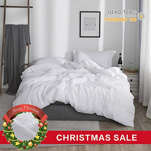 Simple&Opulence 100% Linen Stone Washed 3pcs Basic Style Solid Duvet Cover Set (Queen, White)