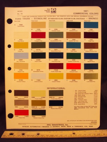 1971 FORD Truck, Econoline Van (Standard Club, Custom Club, Chateau), & Bronco Paint Colors Chip Page
