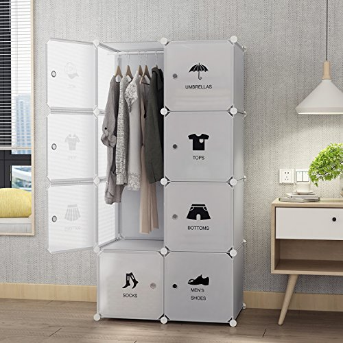 Clothes Storage Wardrobe (Tespo Portable Closet for Hanging Clothes, Armoire Wardrobe for Bedroom, Storage Cube Organizer, Modular Cabinet, Sturdy and Capacious, White. … (5 Cubes & 1 Hanging Cube, Sticker))