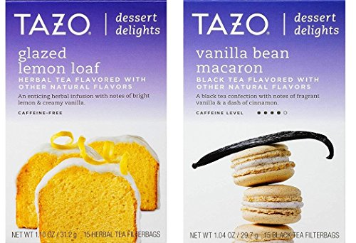 Lemon Tazo (Tazo Dessert Inspired Flavored Tea 2 Flavor Variety Bundle, (1) each: Glazed Lemon Loaf and Vanilla Bean Macaron (15 Count))