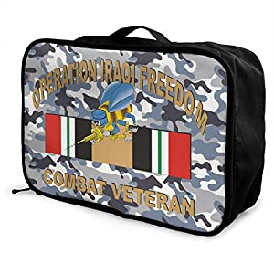 Seabee Iraqi Freedom Combat Veteran Fashion Travel Duffel Bag Waterproof Lightweight Large Capacity Portable Luggage Bag (Black)