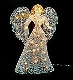 "48"" LED Lighted White Glitter Angel Christmas Yard Art Decoration - Warm White Lights"