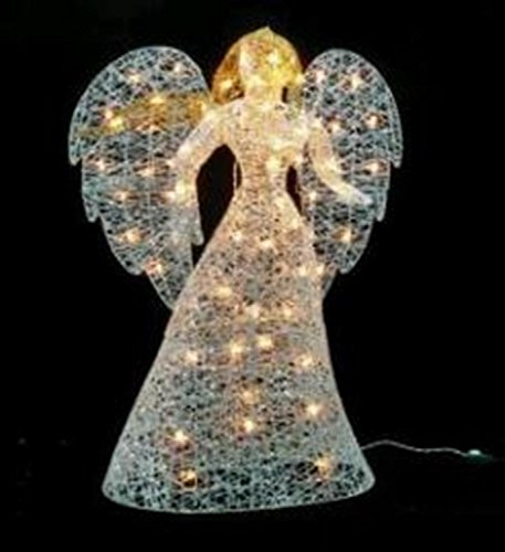 48 led lighted white glitter angel christmas yard art decoration warm white lights - Angel Decorations
