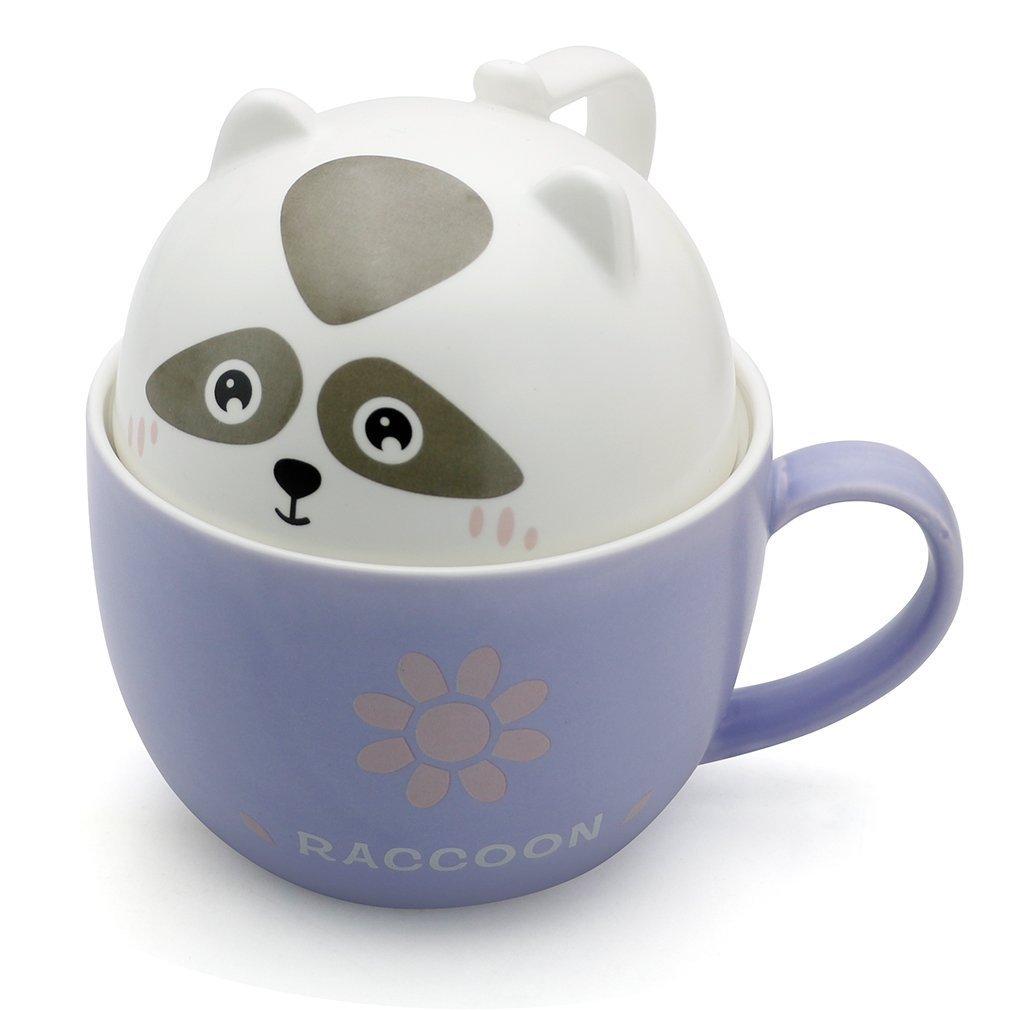 Gydthdeix 3D New Cute Raccoon Animal Cartoon Ceramic Coffee Tea Water Ice Beer Milk Mug with Lid Home Office Cup for Lovers Boy Girl Friend Mother Birthday Gift Set,Raccoon Coffee Mug ,Raccoon Mug