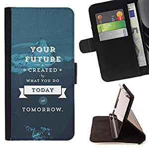 DEVIL CASE - FOR Samsung Galaxy A3 - Future Today Blue Tomorrow Inspirational - Style PU Leather Case Wallet Flip Stand Flap Closure Cover