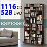 1116 CD/528 DVD Storage Shelf Rack Unit Adjustable Book Bluray Video Games(Brown)
