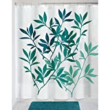 Teal Shower Curtain mDesign Leaves Fabric Shower Curtain - 72