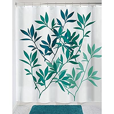 """mDesign Decorative Leaves Print, Easy Care Fabric Shower Curtain with Reinforced Buttonholes, for Bathroom Showers, Stalls, and Bathtubs, Machine Washable - 72"""" x 72"""" - Teal Blue/White - PREMIUM QUALITY: The tight weave of the fabric and superior quality of the polyester yarns provide this curtain with a firm, smooth texture, which promotes water bead formation and is made to withstand damp, moisture rich bathroom environments; Drapes beautifully for a clean fresh look in your bathroom and has a soft hand feel REINFORCED BUTTON HOLES: Reinforced button holes work with most types of shower hooks and rings for quick and simple installation; (Hanging rings/hooks are not included); Top hem is reinforced to hold up to long term use; This shower curtain is perfect for anyone wanting to add some fun and style to their shower - use at home, apartment, condo, hotel, camper, RV, dorm room, school shower, athletic club, gym and everywhere else you need a reliable shower curtain or liner SIMPLE INSTALLATION: Each curtain contains 12 reinforced buttonholes that fit most standard shower hooks (not included), and the generous size is sure to fit most bathtubs and shower stalls; Machine washable to keep mold and mildew away - shower-curtains, bathroom-linens, bathroom - 51osTFbYZ4L. SS400  -"""