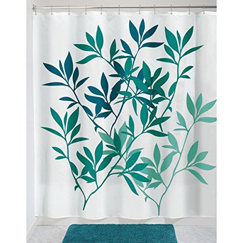 Teal Leaf Shower Curtain Designs for the Bathroom