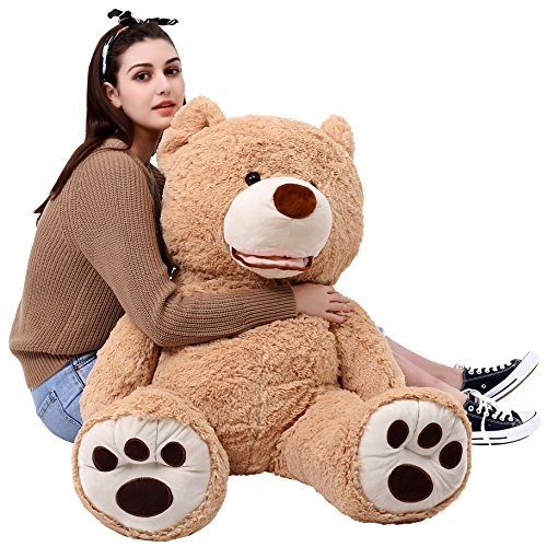 MorisMos Giant Teddy Bear with Big Footprints Plush Stuffed Animals Light Brown 39 inches - Giant Plush Bear