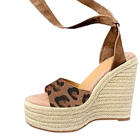 2baa20f0689a0 Amazon.com: Women's Espadrille Wedges Sandals - Casual Leopard Open ...