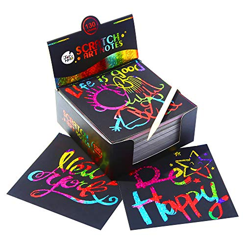 Jar Melo Scratch Art Notes; 130 Sheets; with 2 Wooden Stylus; Rainbow Holographic Mini Notes; Rainbow Hologram Glitter Pattern Scratch Magic Notes - Scratch Glitter
