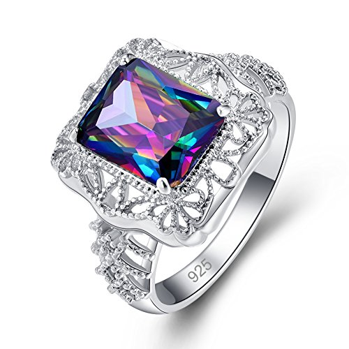 Sterling Art Ring Deco (Psiroy 925 Sterling Silver Created Rainbow Topaz Filled Art Deco Floral Ring)