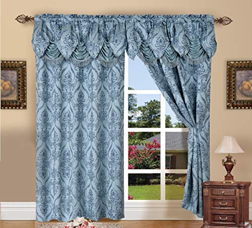 Elegant Comfort Penelopie Jacquard Look Curtain Panel Set, 54 by 84-Inch, Blue, Set of 2 from Elegant Comfort