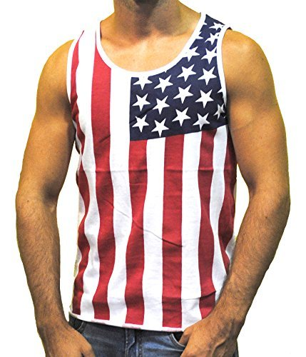 Exist Men's American Flag Stripes and Stars Tank Top Shirt TAF06 L White,red,Blue