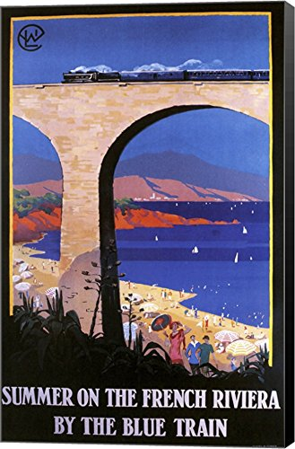 French Riviera by Vintage Apple Collection Canvas Art Wall Picture, Museum Wrapped with Black Sides, 19 x 30 inches