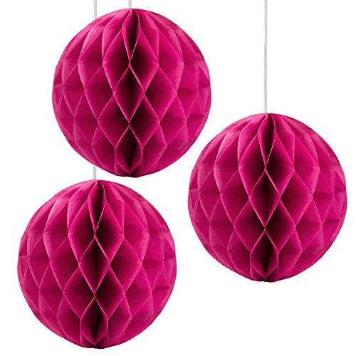 Floral Reef Set of 3 - 12 FUCHSIA PINK Tissue Paper Honeycomb Ball Pom Pom Flower Hanging Home Decoration Party Wedding