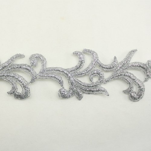 Silver Metallic Floral Flower Lace trim by the yard - Bridal wedding Lace Trim wedding fabric Millinery accent motif scrapbooking crafts lace for baby headband hair accessories dress bridal accessories (Silver Metallic Applique)