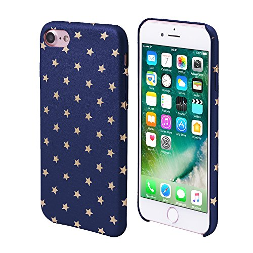 (iProtect Limited Edition Star Case for Apple iPhone 7, iPhone 8 TPU Hardcase - Unique Design - Smooth Touch Protective Sleeve with Gold Stars in Blue)