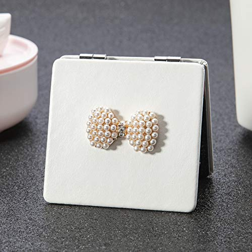 CTRDJZ Mirror Mini Pocket Beauty Makeup Mirror 2-Face Pu Leather Portable Magnifying - Of Framed Mother Pearl Bathroom Mirrors
