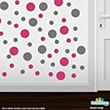 Set of 30 - Hot Pink / Grey Circles Polka Dots Vinyl Wall Graphic Decals Stickers by Decal Venue