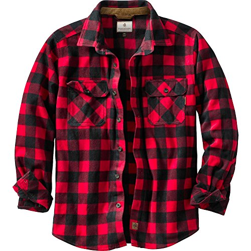 Legendary Whitetails Men's Navigator Fleece Button Up Shotgun Shell Red Plaid Large