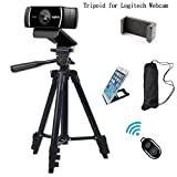 Professional Camera Tripod Mount Holder Stand for Logitech Webcam C930 C920 C615,iPhone,Cellphone,Cameras with Cell phone Holder Clip and Remote Shutter -42