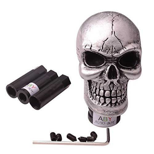 ABy Skull Head Gear Stick Shift Shifter Knob Lever Cover Universal Fit For Most Manual transmission vehicles(Silver) - Manual Shift Levers