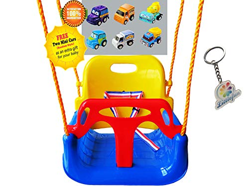 Littlefun 3-in-1 Infant to Toddler Upgrade Swing Anti-flip Snug & Secure Detachable Children Outdoor Play Patio Garden Amusement Park Equipment Bonus Mini Cars Gifts(Color:Blue Chair)