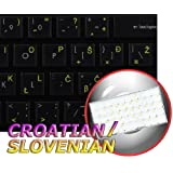 CROATIAN / SLOVENIAN KEYBOARD LABELS LAYOUT ON TRANSPARENT BACKGROUND WITH BLUE, ORANGE, RED, WHITE OR YELLOW LETTERING (14X14) (Yellow)