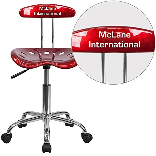 Flash Furniture LF-214-WINERED-TXTEMB-VYL-GG Vibrant Wine Red and Chrome Task Chair with Tractor Seat