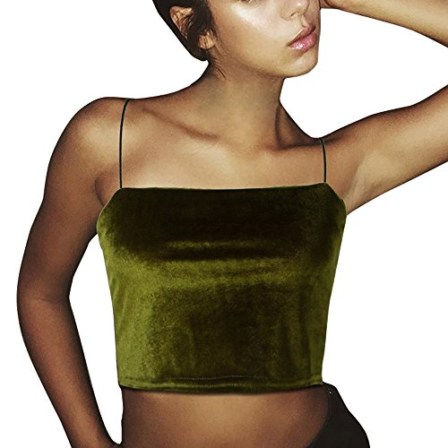 iSkylie Women's Boho Camisole Blouse Sexy Spaghetti Strap Vest Summer Sleeveless Tanks Tops Casual Sling Cold Shoulder Short Navel T-Shirt (Green, M) by iSkylie (Image #9)