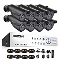 [Better Than 1080N]TMEZON 16CH 1080P AHD Video DVR Security System 8 AHD 2.0MP Super Night Vision 42 IR LEDs Indoor/Outdoor Security Camera Transmit Range QR Code Scan Easy Setup